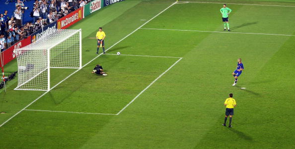 VIENNA, AUSTRIA - JUNE 20: Mladen Petric of Croatia shoots and Rustu Recber of Turkey makes the save in the penalty shoot out to win the UEFA EURO 2008 Quarter Final match between Croatia and Turkey at Ernst Happel Stadion on June 20, 2008 in Vienna, Austria. (Photo by Andreas Rentz/Bongarts/Getty Images)