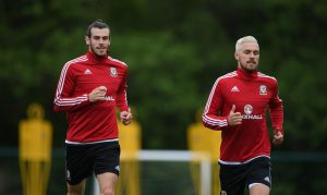 CARDIFF, WALES - JUNE 01: Aaron Ramsey (r) and Gareth Bale in action during Wales training at the Vale hotel complex on June 1, 2016 in Cardiff, Wales. (Photo by Stu Forster/Getty Images)