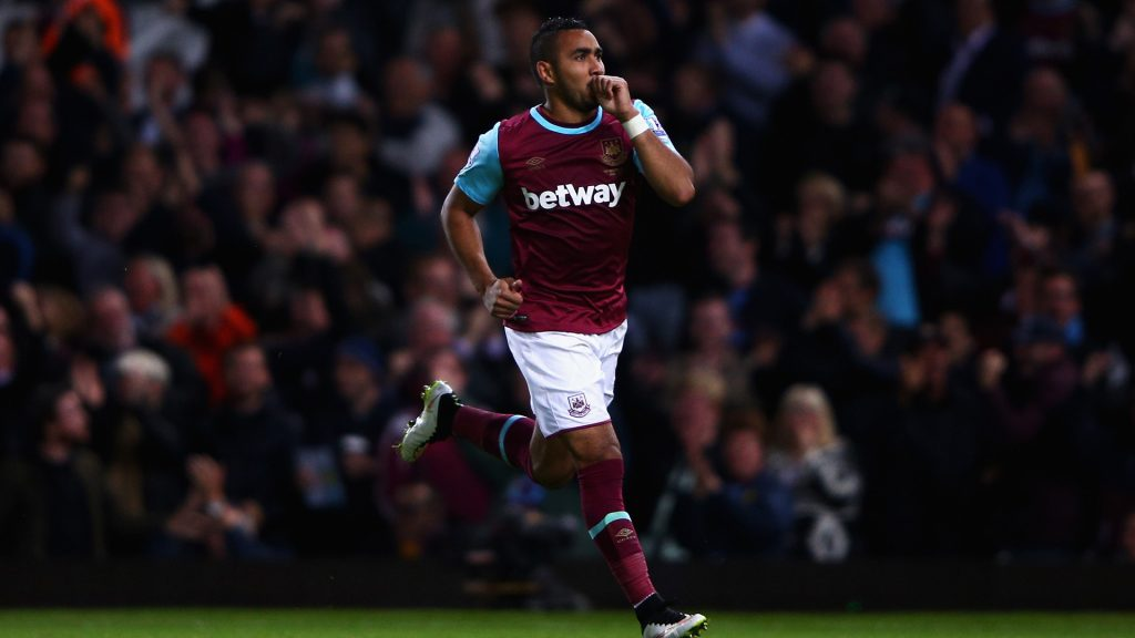 LONDON, ENGLAND - SEPTEMBER 14: Dimitri Payet of West Ham United celebrates scoring his second goal during the Barclays Premier League match between West Ham United and Newcastle United at the Boleyn Ground on September 14, 2015 in London, United Kingdom. (Photo by Ian Walton/Getty Images)