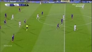 Une image de la phase offensive de la Juventus; Pogba redescend en phase de construction; Khedira remonte; les ailiers avancent; Dybala reste derrière Mandzukic.