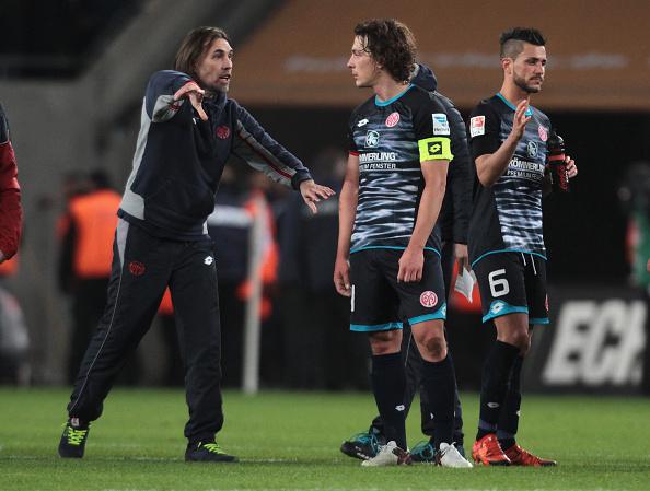 Pas de calvitie à Mainz, surtout pour le coach et le capitaine - parti depuis. (Photo by Juergen Schwarz/Bongarts/Getty Images)