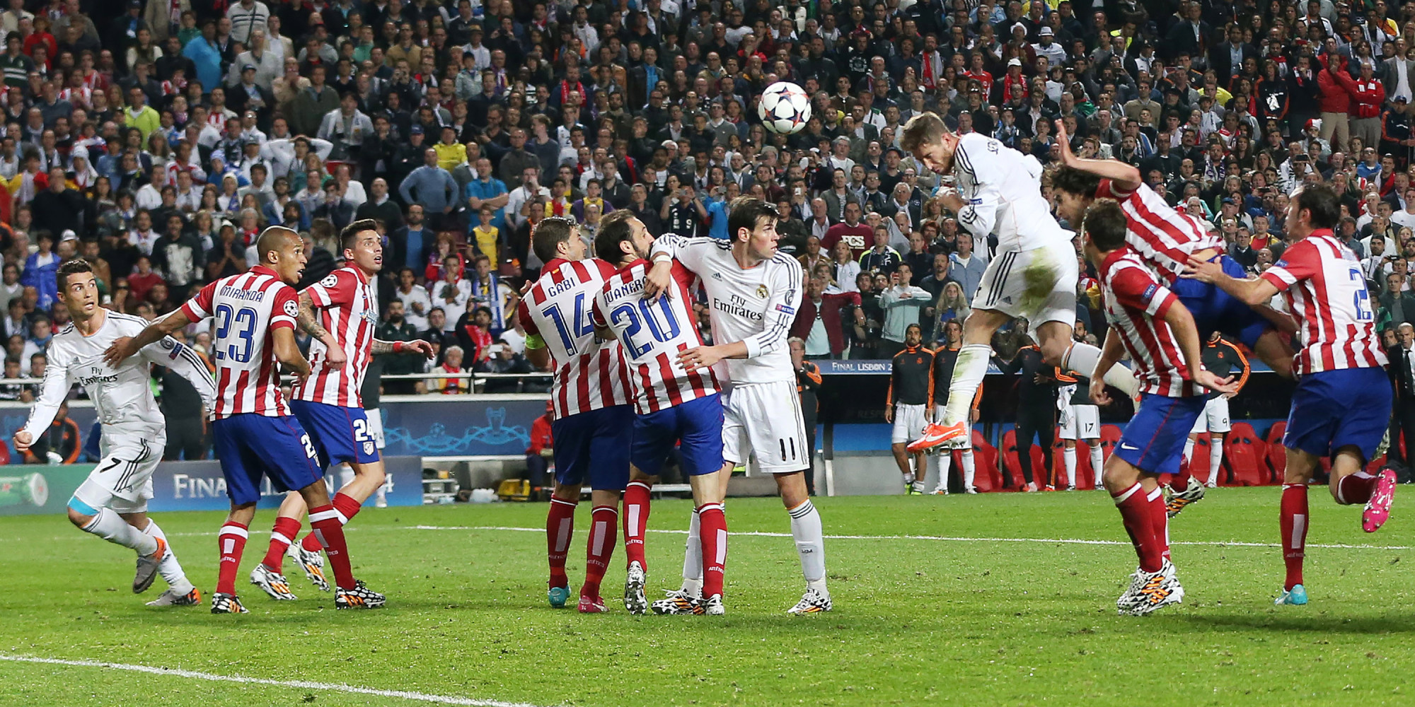 LISBON, PORTUGAL - MAY 24:  Sergio Ramos of Real Madrid scores during the UEFA Champions League Final match between Real Madrid and Athletico Madrid at The Estadio da Luz on May 24, 2014 in Lisbon, Portugal.  (Photo by Ian MacNicol/Getty Images)