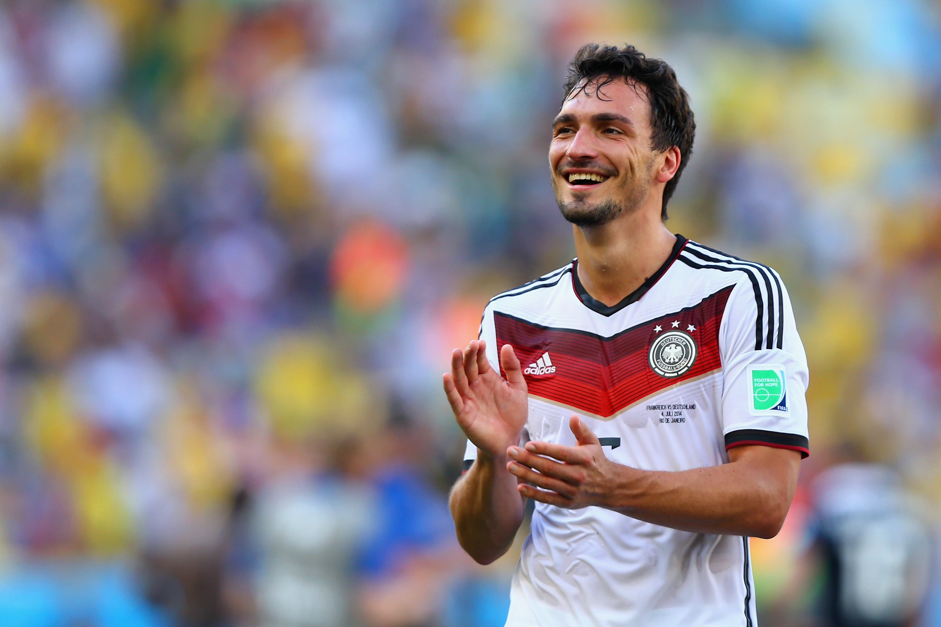 RIO DE JANEIRO, BRAZIL - JULY 04:  Mats Hummels of Germany acknowledges the fans after defeating France 1-0 in the 2014 FIFA World Cup Brazil Quarter Final match between France and Germany at Maracana on July 4, 2014 in Rio de Janeiro, Brazil.  (Photo by Martin Rose/Getty Images)