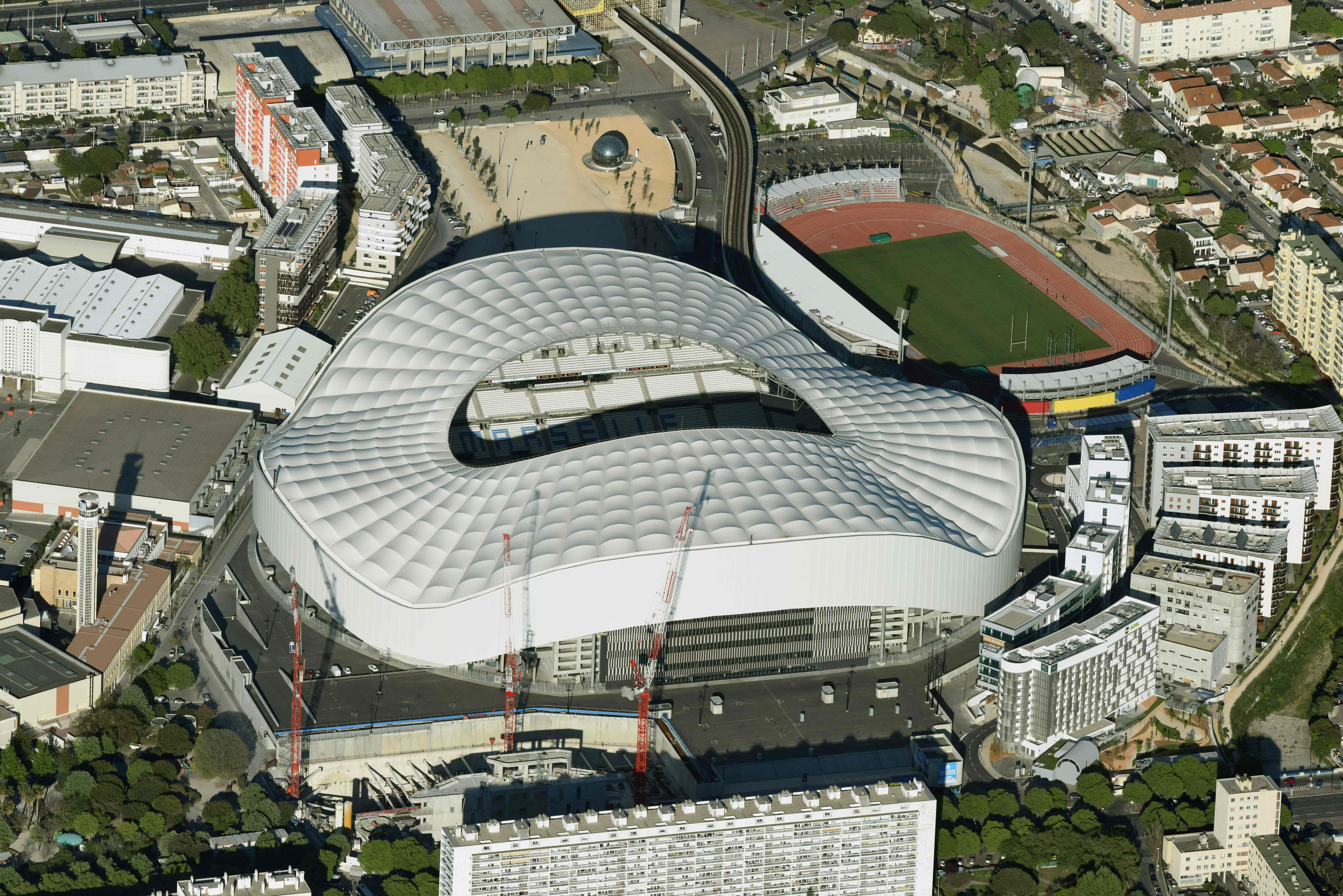 A photo taken on April 20, 2016 shows an aerial view of the Velodrome stadium in Marseille, southeastern France. / AFP / EUROLUFTBILD / Robert Grahn        (Photo credit should read )