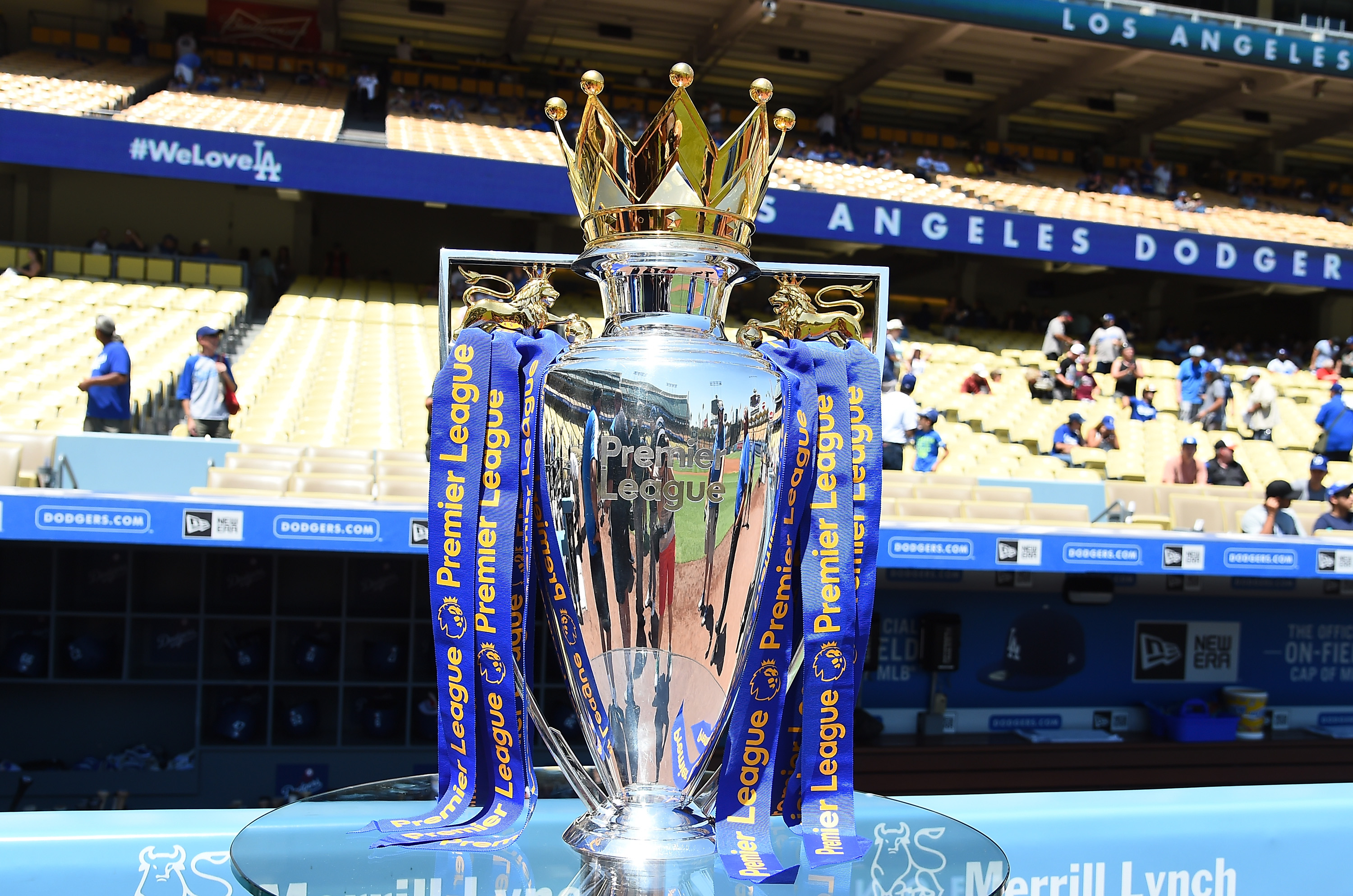 LOS ANGELES, CA - JULY 27:  The Premier League Championship trophy was on display before the game between the Los Angeles Dodgers and the Tampa Bay Rays at Dodger Stadium on July 27, 2016 in Los Angeles, California.  (Photo by Jayne Kamin-Oncea/Getty Images)